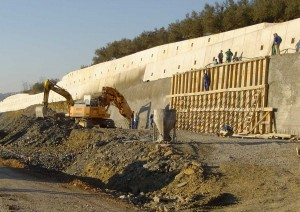 Gradnja opornega zidu Dekani